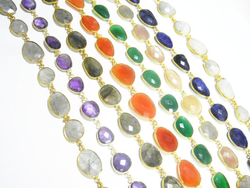 Gemstone Bezel Connector Chain