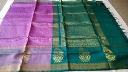 Festive Wear Peacock Border Design Body Embossed Silk Cotton Saree With Blouse Piece