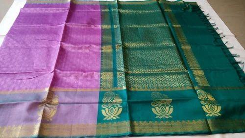 48ce44ba1b094a Wedding Wear Peacock Border Design Body Embossed Silk Cotton Saree, With  Blouse Piece