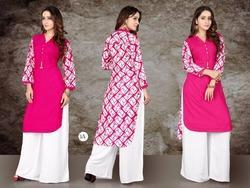Rayon Ladies Kurti With Plazzo