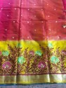 Red Body Yallow Border Phulkari Embroidered Saree, With Blouse Piece