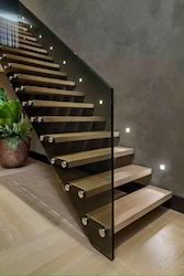 Bar Straight Run Stainless Steel Staircase For Duplex, For Home, Material Grade: MS And SS