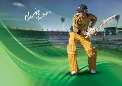 PVC And Non Woven Sports Cricket Wallpaper