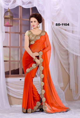 15d657b8e3 Georgette Party Wear, Wedding Wear Orange Color Designer Party Wear  Embroideries Saree, With Blouse