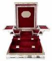 Silver Finish Big Premium Jewelry Box - 4 Trays and 2 Rolls