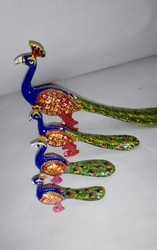 Polished Metal Meenakari Peacock For Decoration