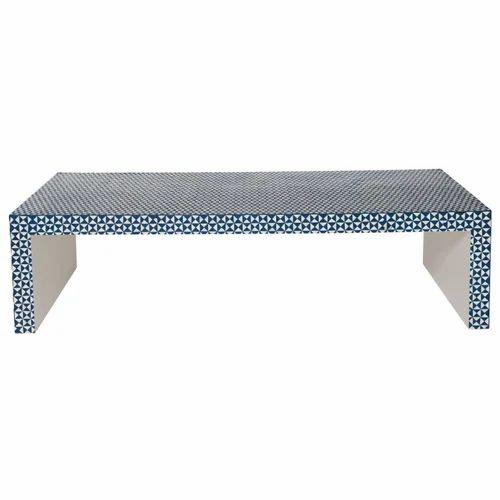 Ivory Bone Inlay Coffee Table Blue