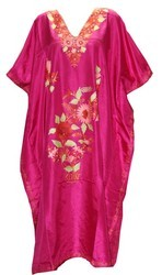Maroon Women Silk Embroidered Kaftan