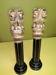 Ashoka Pillar In Wood Brass Look