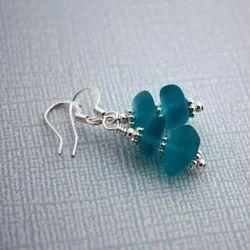 Falak Gems Sterling Silver Aqua Blue Sea Glass Earrings