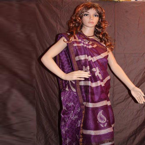 38009117d8a Hand Block Printed Silk Sarees - Block Print Chanderi Sarees ...