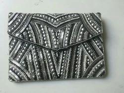 Silver and Grey Nylon Fashionable Hand Purse