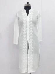 Formal Wear Fancy White Kurti