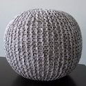 Polyester Beige Knitted Pouf