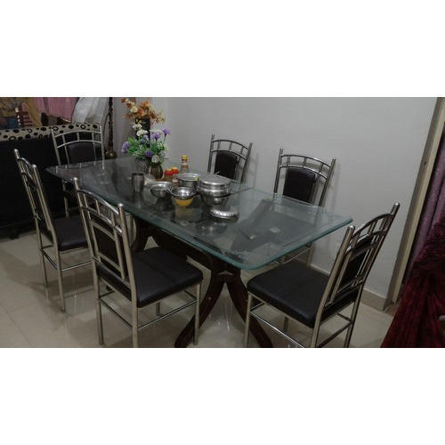 Six Chair Stainless Steel Dining Table