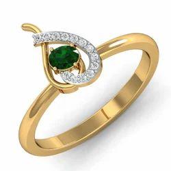 Green Stone Gold Diamonds Ring