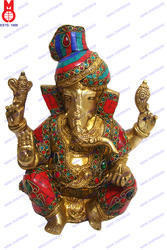 Lord Ganesh Carved W/Out Base W/ Tiger Stone