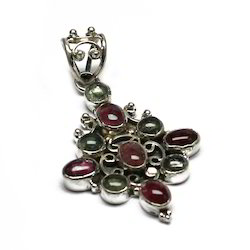 Multi Tourmaline Gemstone Sterling Silver Pendant