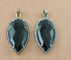 Black Onyx Pave Set Arrowhead Pendant