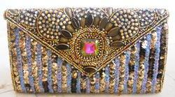 Zari Embroidery Handicraft Clutch Bag