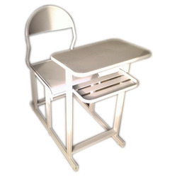 Single Examination Desk In White Frame Fully Iron Made Model