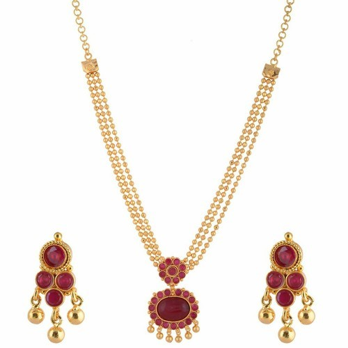 1 Gram Jewellery: Ruby Pink Gold Ganapathy Gems One Gram Gold Plated Temple