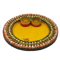Wooden & Paper Mache Round Shape Pooja Thali with Kundan Work