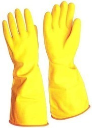 Yellow Rubber Industrial Safety Gloves, Size: Medium, Rs 50 /pair | ID:  11793611788