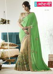 Georgette Beige and Green Color Saree