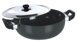 Black Round Hard Anodized Deep Kadai
