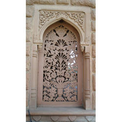 Off-white Floral and Pictorial Antique Stone Carved Window