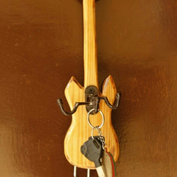 Guitar Shape Wooden Key Holder