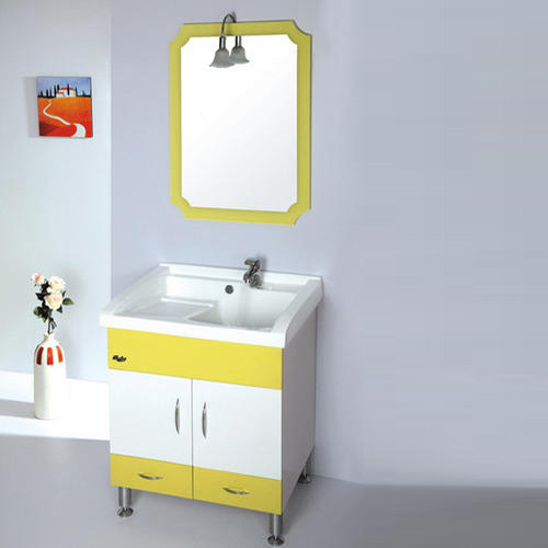 Yellow And White Floor Mounted Sink Cabinet