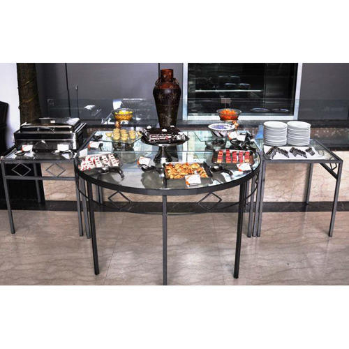 Round Glass Top Buffet Table