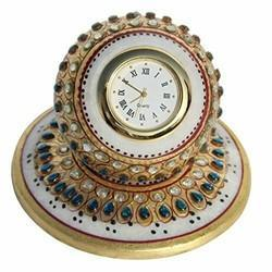 Multicolor Marble Handicrafts Table Clock Embosed Golden Painted Work
