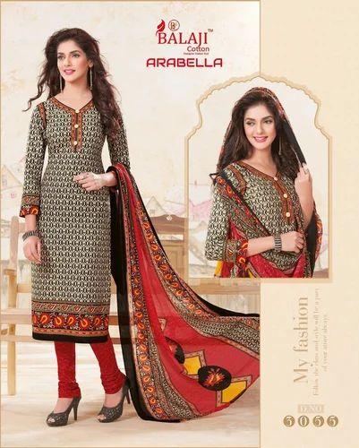 361e5ca8b4 Net Balaji Cotton Dress Material With Chiffon Dupatta, GSM: 150-200 ...