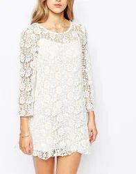 White Cotton Schiffli Embroidery Fashion Dress