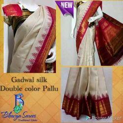 Gadwal Silk Double Color Border Saree