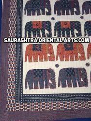 Elephant Ajrak Bedover Kantha Quilt