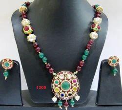Navratna Pendant With Designer Beads