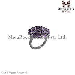 925 Sterling Silver Amethyst Gemstone Baguettes Ring