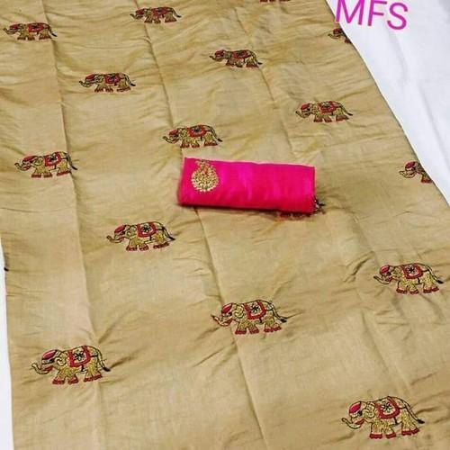Mfs Brand Ivory 2 Tone Raw Silk Saree