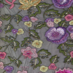 Floral Hand Beaded Fabric