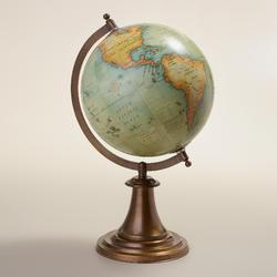 Antique Green Globe With Metal Stand