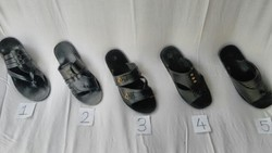 Black And Brown Men Leather Chappals, Size: 6 To 10