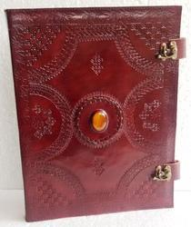 Brown Embossed Stone with 2 Lock Leather File & Folder
