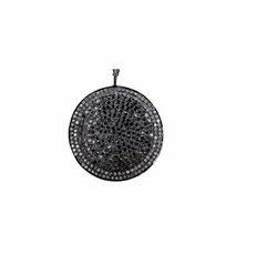 Round Pave Black Gem Stone Pendant