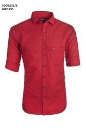 Plain Red Linen Shirt