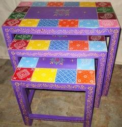 Hand Painted Wooden Table Set Of 3