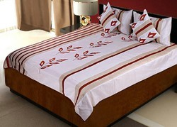 Silk Bed Cover Cushion N Pillow Covers Set 408